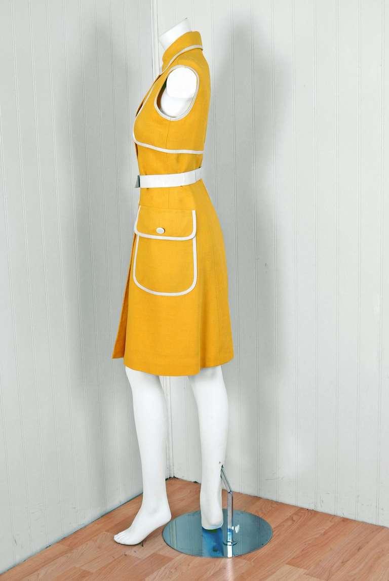 1960's Geoffrey Beene Yellow & White Linen Sleeveless Belted Mod Dress 3