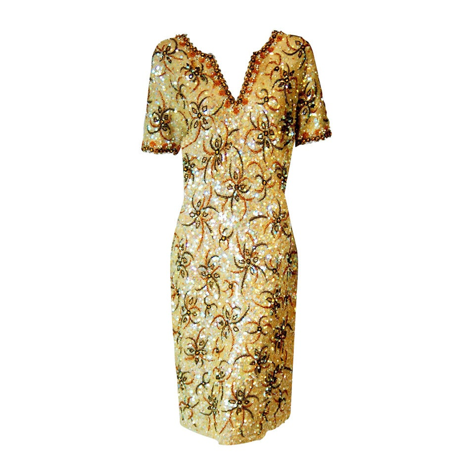1950's Gene Shelly Golden-Yellow Sequin Beaded Knit Abstract Cocktail Dress 1