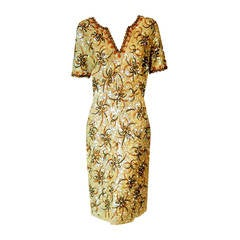 1950's Gene Shelly Golden Yellow Sequin Beaded Knit Abstract Cocktail Dress