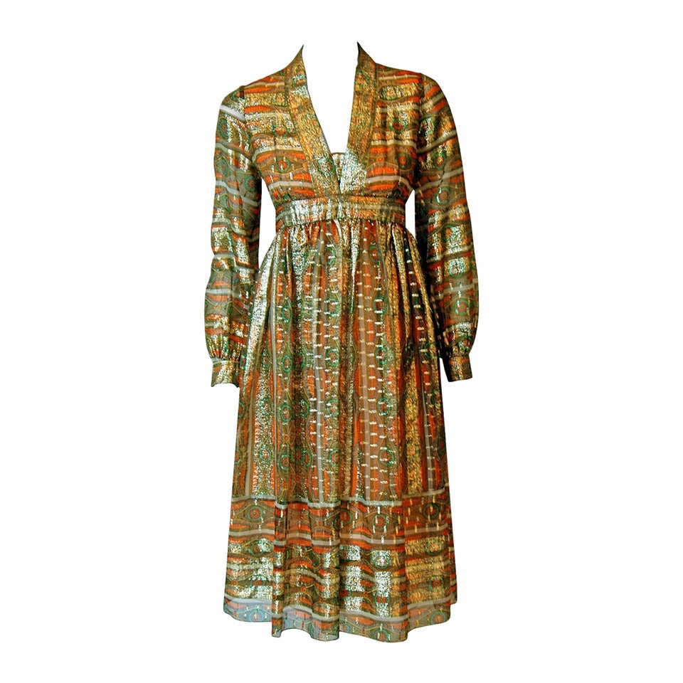 1970's Esther Wolf Metallic Print Indian-Silk Empire Plunge Bohemian Dress For Sale