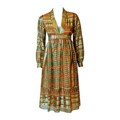 1970's Esther Wolf Metallic Print Indian-Silk Empire Plunge Bohemian Dress