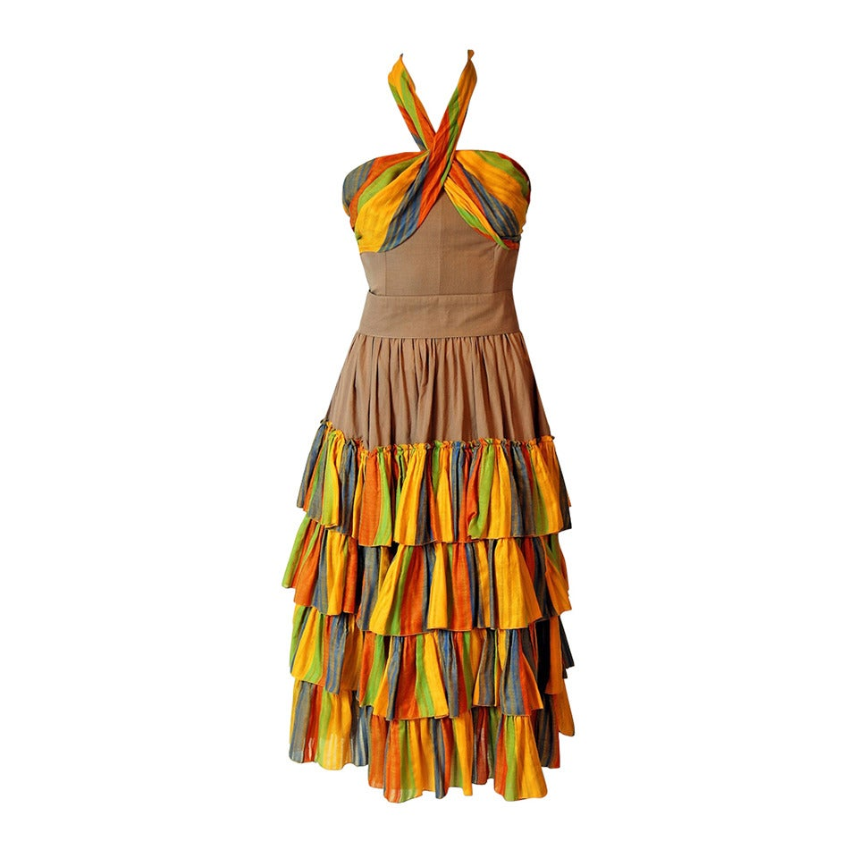 1970's French Watercolor-Stripe Tiered Cotton Shelf-Bust Halter Belted Sun Dress 1
