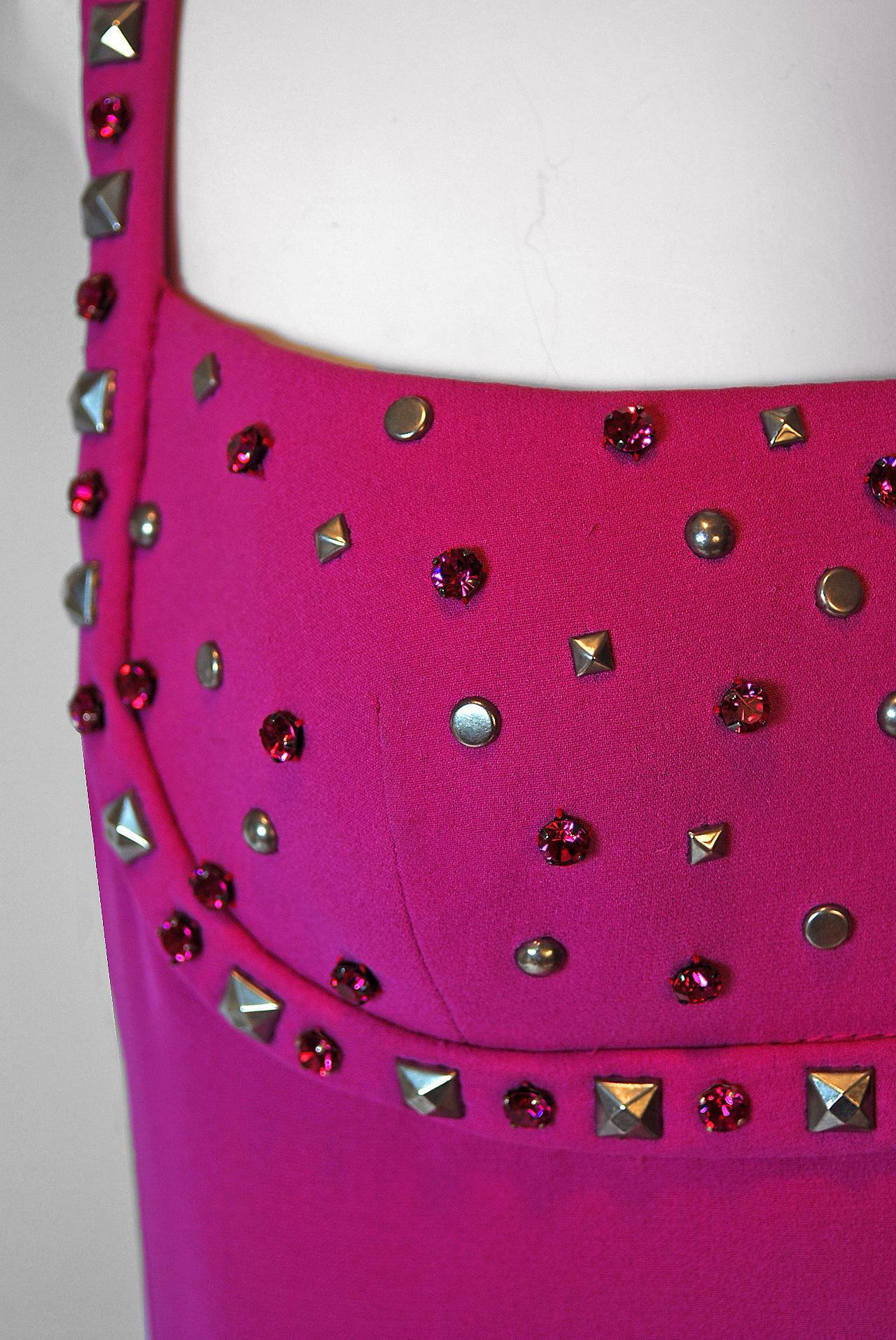 Purple 1995 Gianni Versace Couture Fuchsia Silk Studded Shelf-Bust Hourglass Gown For Sale