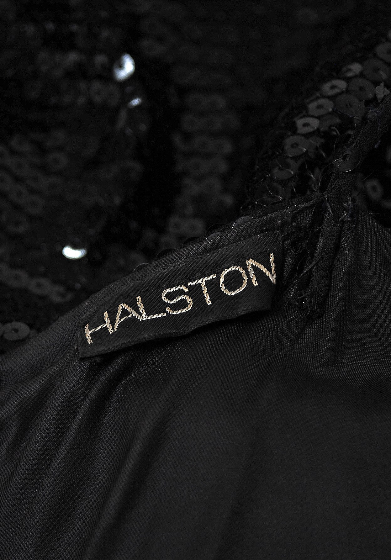 1970's Halston Black Sequin Silk-Jersey Plunge Hourglass Mermaid Cocktail Dress For Sale 1
