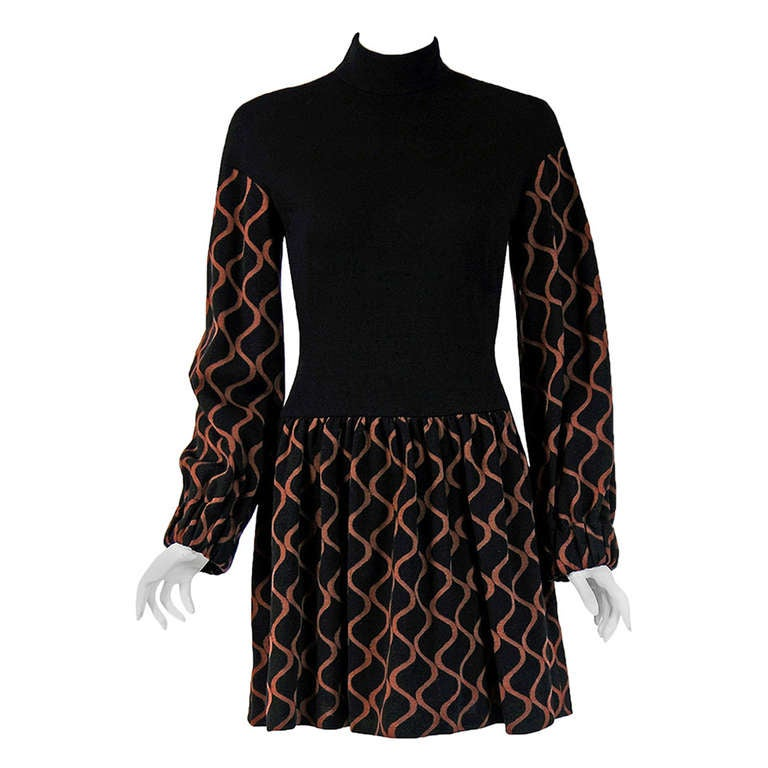 1960's Rudi Gernreich Op-Art Black & Mocha Wool Billow-Sleeves Mod Dress