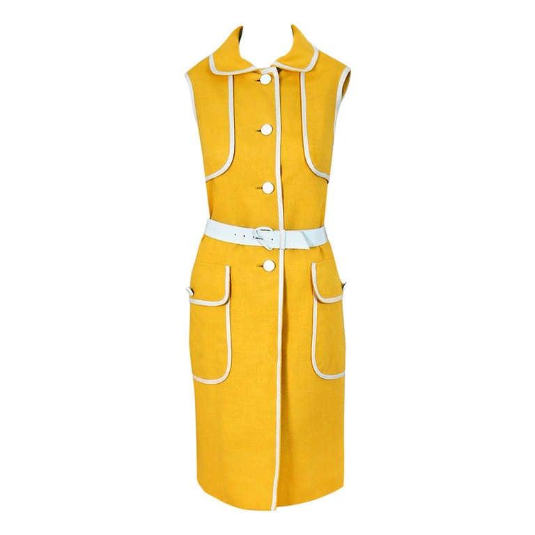 1960's Geoffrey Beene Yellow & White Linen Sleeveless Belted Mod Dress 1
