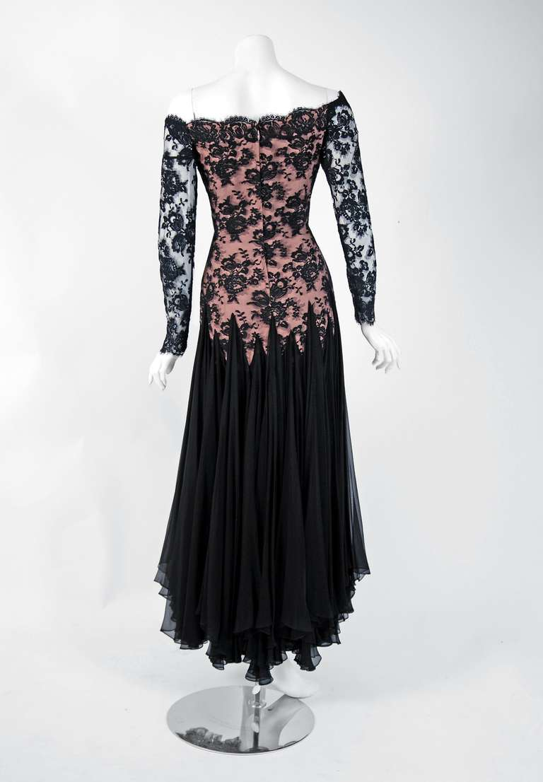 1978 Travilla Couture Sheer Illusion Lace & Black Chiffon Off-Shoulder Gown For Sale 1