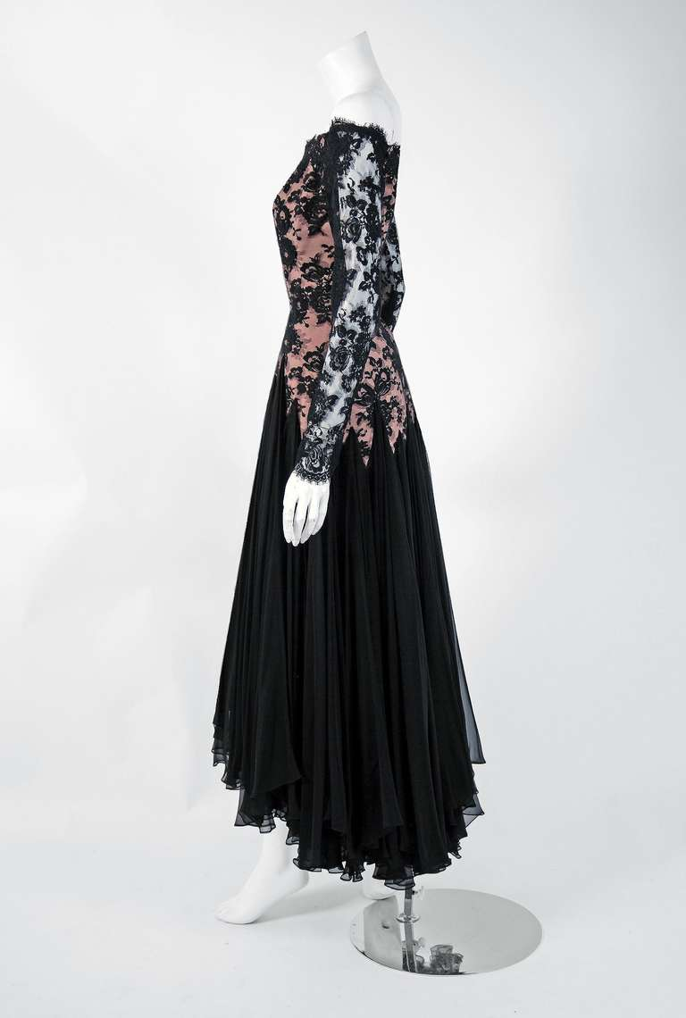 Women's 1978 Travilla Couture Sheer Illusion Lace & Black Chiffon Off-Shoulder Gown For Sale