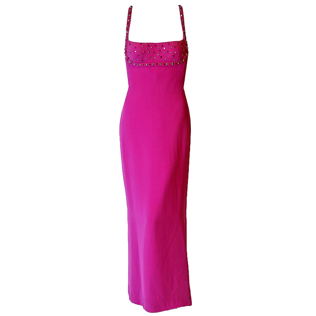 1995 Gianni Versace Couture Fuchsia Silk Studded Shelf-Bust Hourglass Gown For Sale