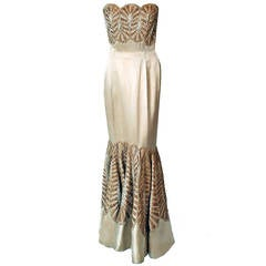 1950's Sorelle Fontana Haute-Couture Beaded Ivory Satin Strapless Mermaid Gown