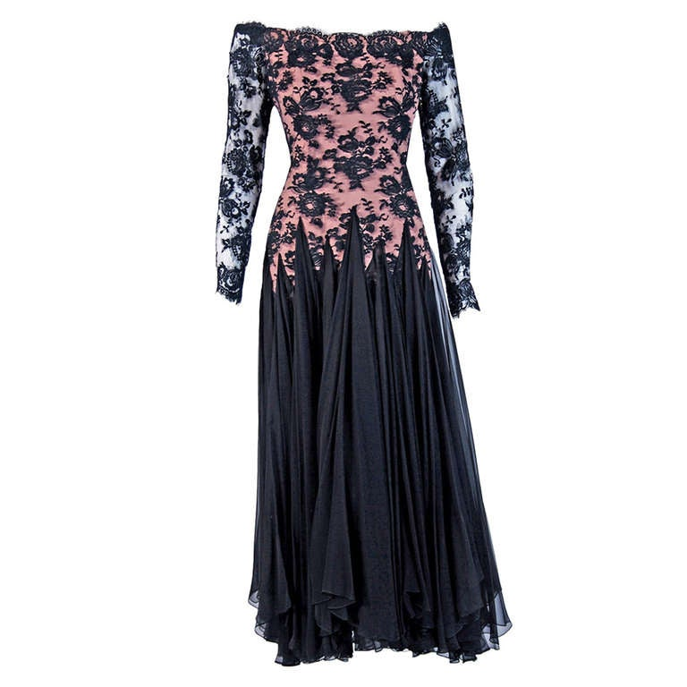 1978 Travilla Sheer Lace Illusion and Black Chiffon Off-Shoulder Evening Gown For Sale