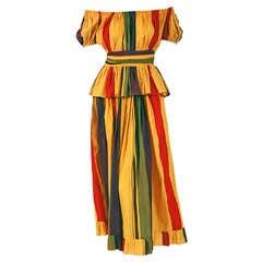1970's Christian Dior Striped-Cotton Bohemian Off-Shoulder Dress Ensemble