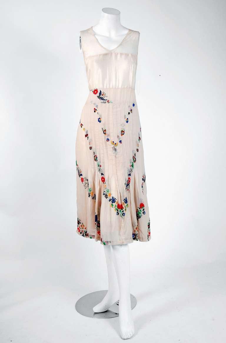 1930 S Madeleine Vionnet Adaptation Floral Print Silk