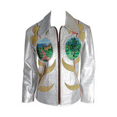 1970's East West Musical Instruments Handpainted Applique Silver Leather Jacket