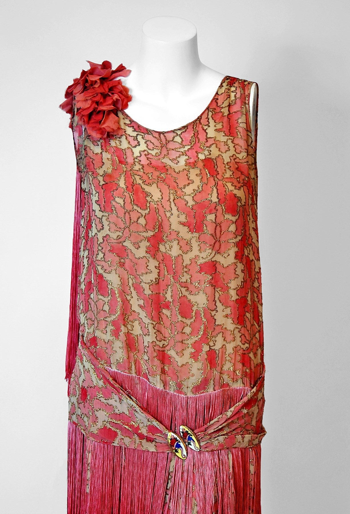 1920's B. Altman Couture Metallic-Gold & Pink Lame Ombre-Fringe Flapper Dress 2