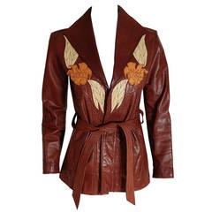1970's East West Musical Instruments Applique Leather Belted Trench Coat Jacket