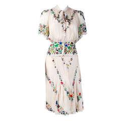 1930's Madeleine Vionnet Adaptation Floral Print Silk-Chiffon Dress Ensemble