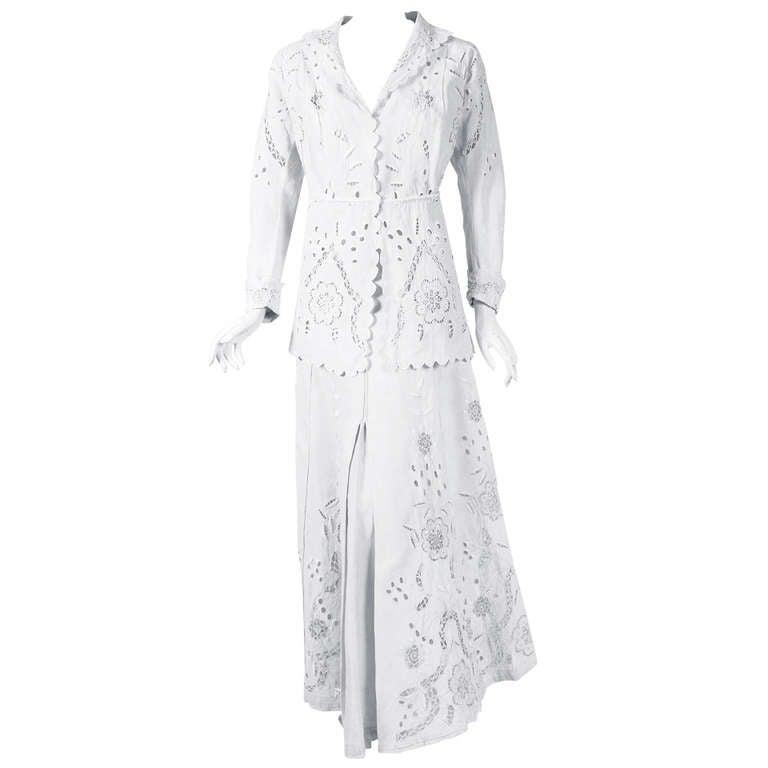 1910's Edwardian Crisp-White Embroidered Linen Needle-Lace Jacket & Skirt