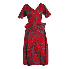 1950's Irene Lentz Watercolor Red-Roses Floral Print Silk Bubble Party Dress