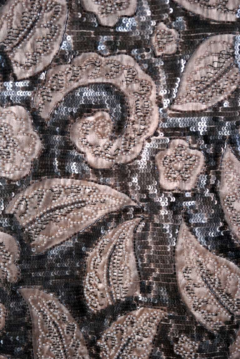 1920's French Couture Silver & Ivory Beaded Sequin Satin Deco Flapper Coat 4