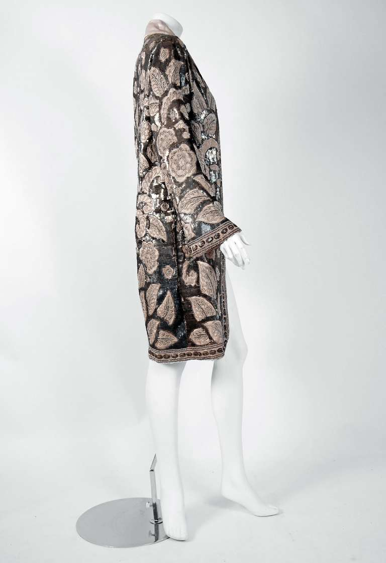 1920's French Couture Silver & Ivory Beaded Sequin Satin Deco Flapper Coat 5