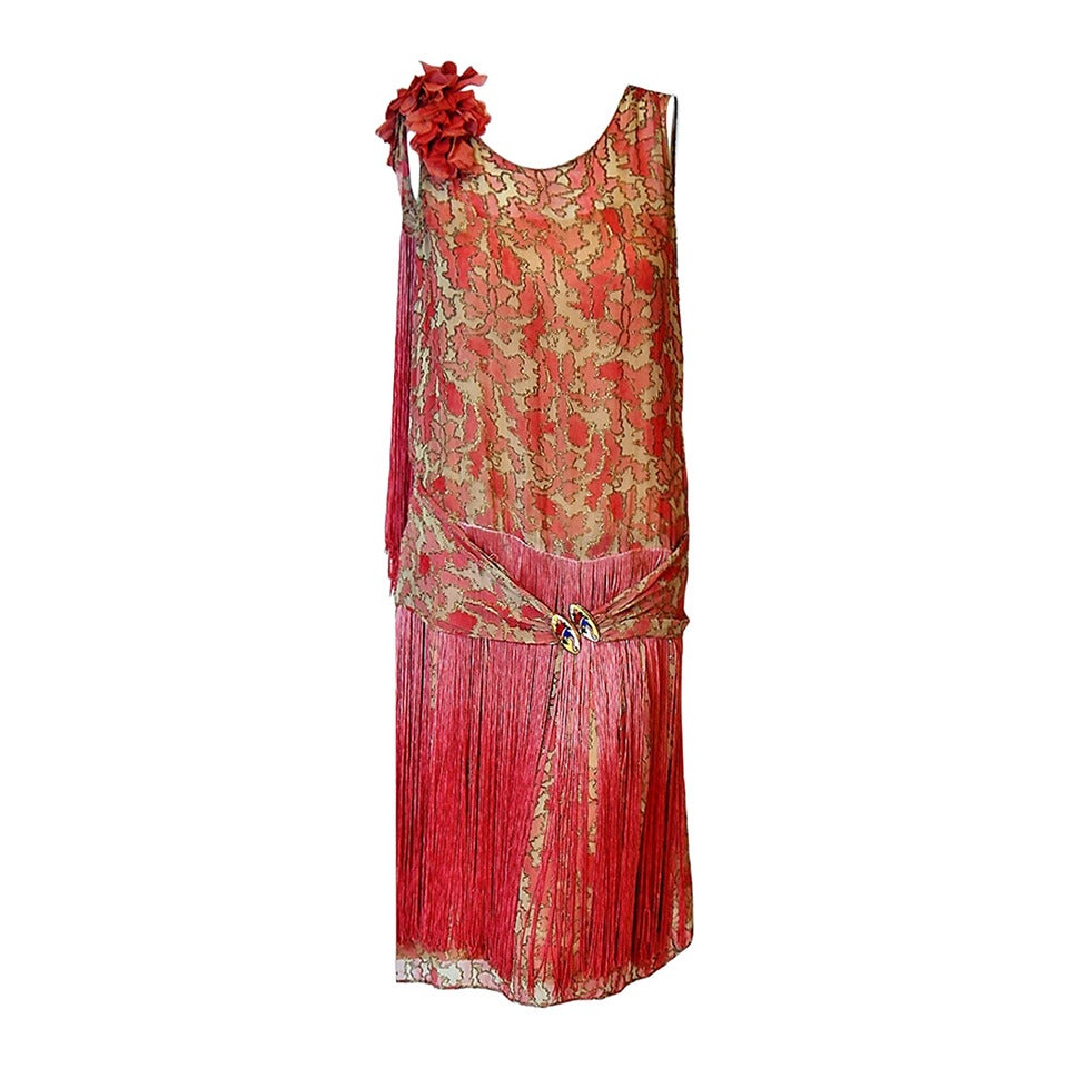 1920's B. Altman Couture Metallic-Gold & Pink Lame Ombre-Fringe Flapper Dress For Sale