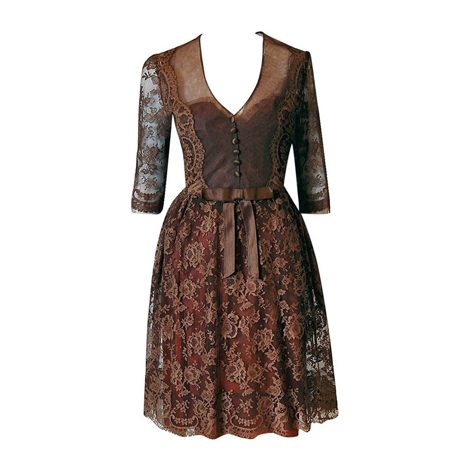 1955 Maggy Rouff Haute-Couture Brown Sheer Illusion Chantilly-Lace Party Dress For Sale