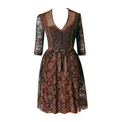 1955 Maggy Rouff Haute-Couture Brown Sheer Illusion Chantilly-Lace Party Dress