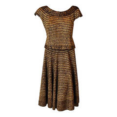 1940's Austrian Metallic-Gold Threaded Brown Wool-Knit Swing Dress Ensemble