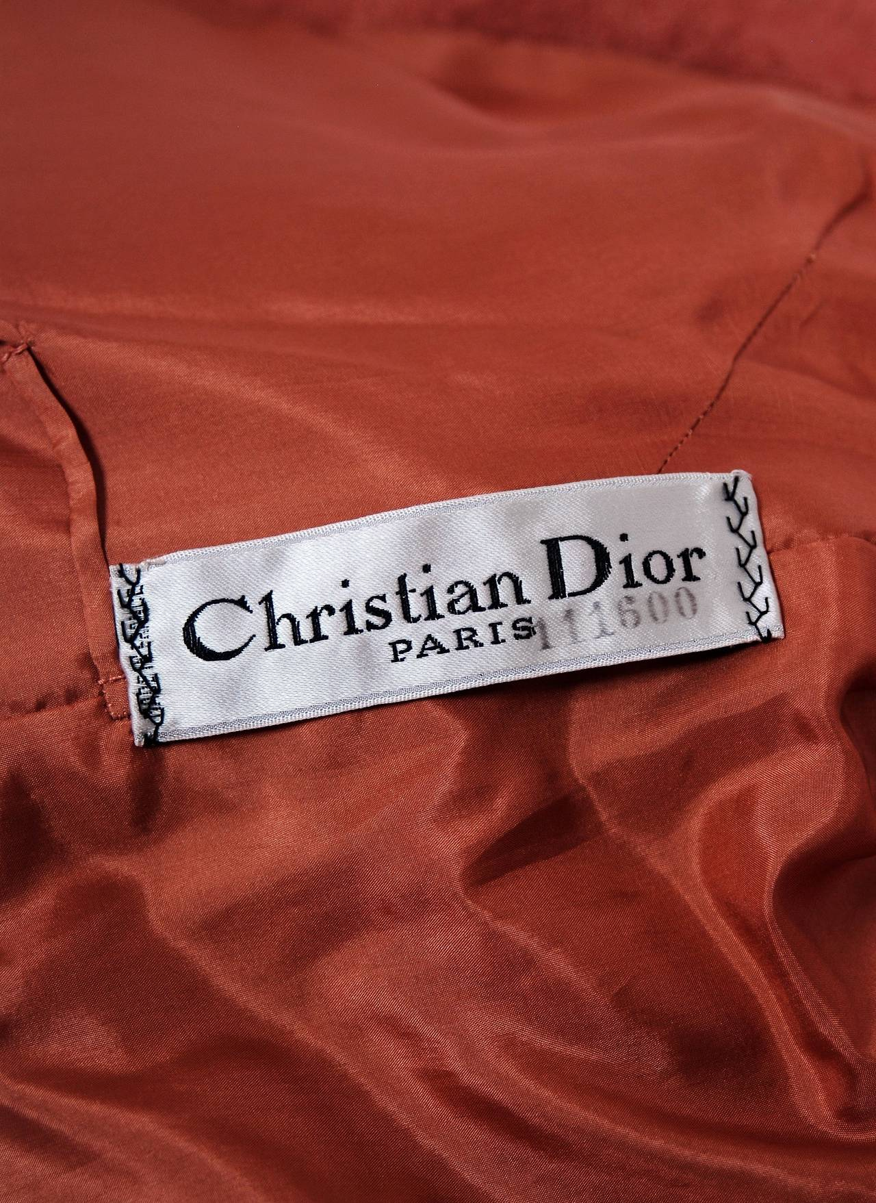 1960 christian dior demi couture documented apricot wool for Couture labels