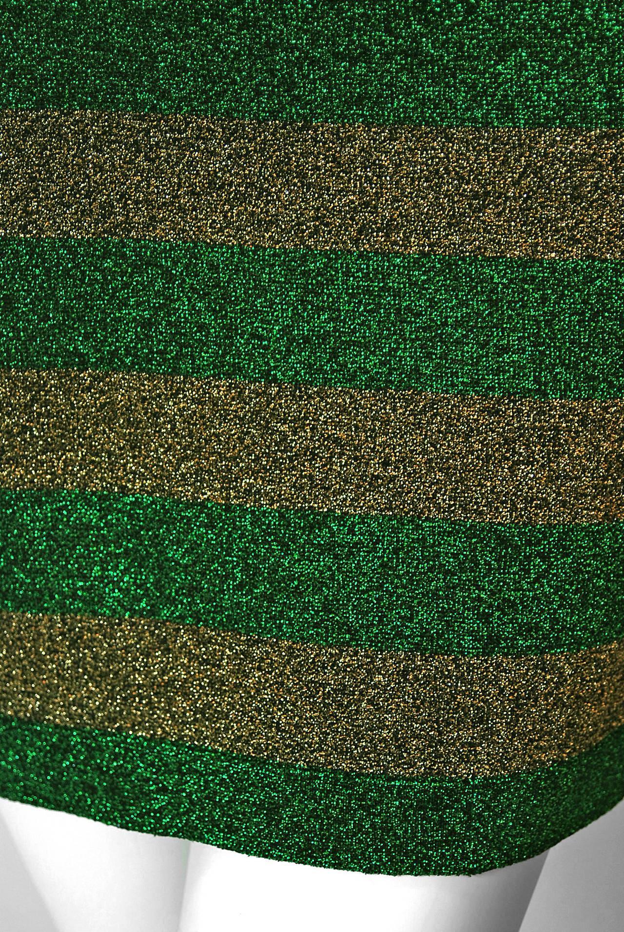1990's Gianni Versace Couture Green & Gold Stripe Metallic Lurex Mini Dress 3