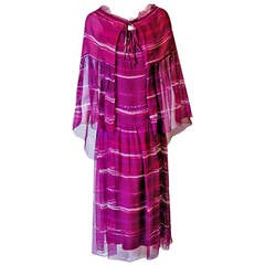 1977 Christian Dior Haute-Couture Purple Abstract-Print Chiffon Dress & Cape