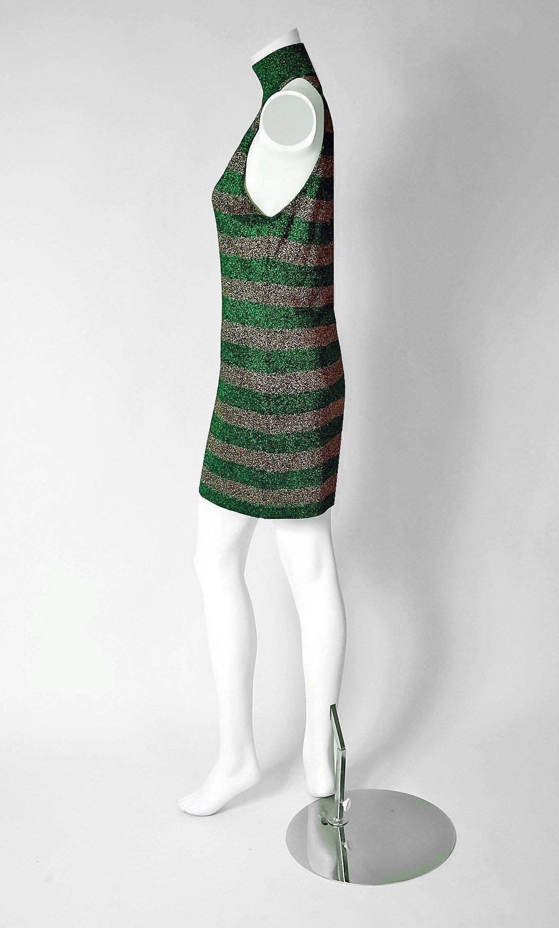 1990's Gianni Versace Couture Green & Gold Stripe Metallic Lurex Mini Dress 2