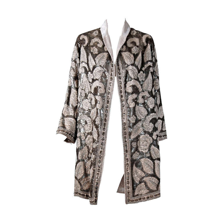 1920's French Couture Silver & Ivory Beaded Sequin Satin Deco Flapper Coat 1