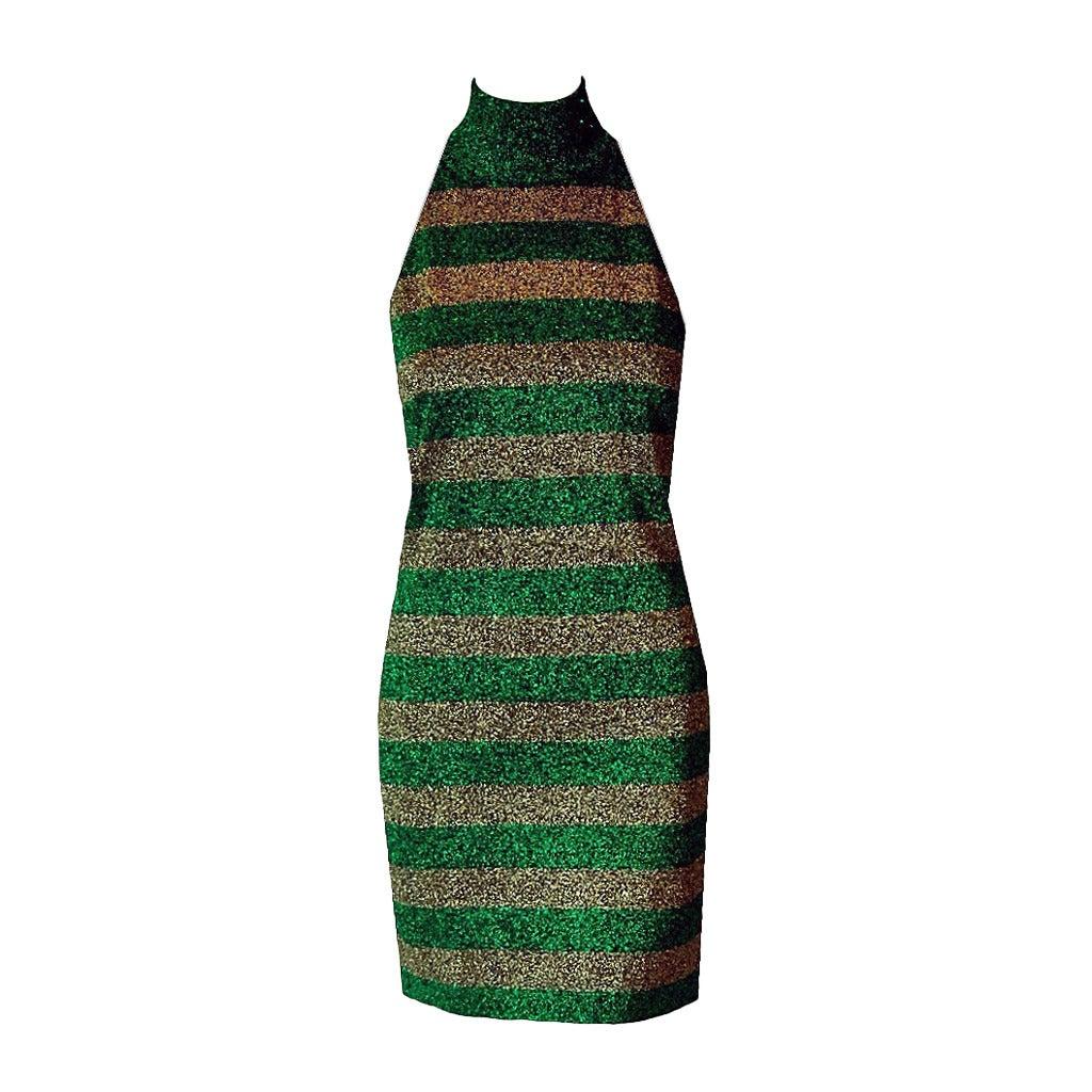 1990's Gianni Versace Couture Green & Gold Stripe Metallic Lurex Mini Dress 1