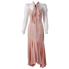 1972 Alice Pollock Blush-Pink Rayon & Illusion Lace Hourglass Dress Gown