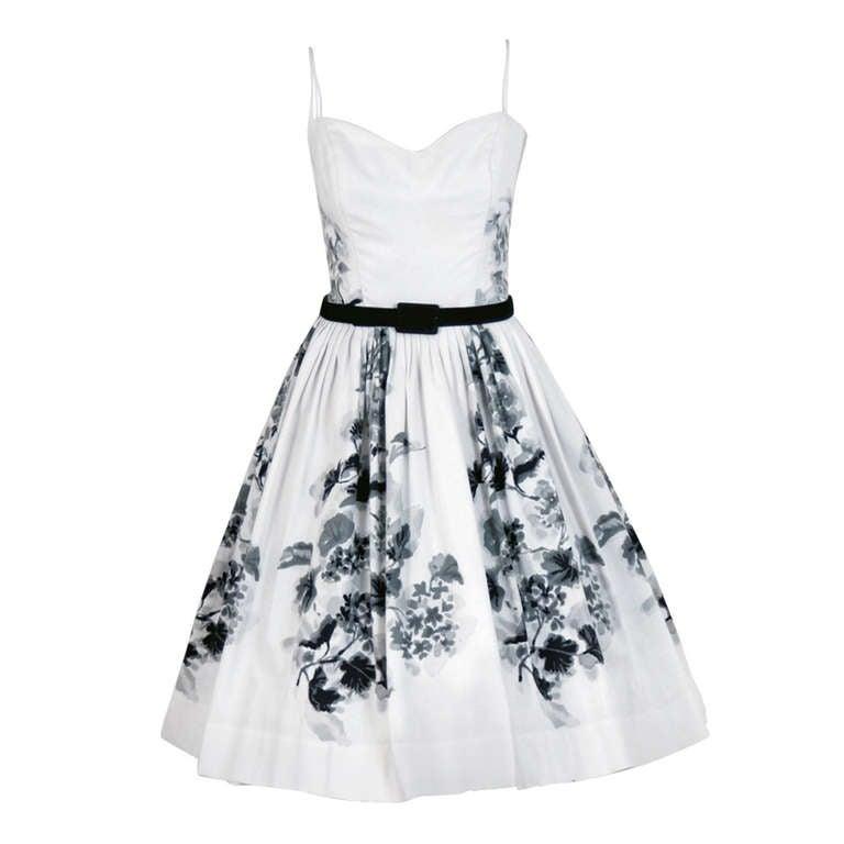 1950's Silvano of Roma Black White Floral Print Pique-Cotton Sun Dress & Coat For Sale