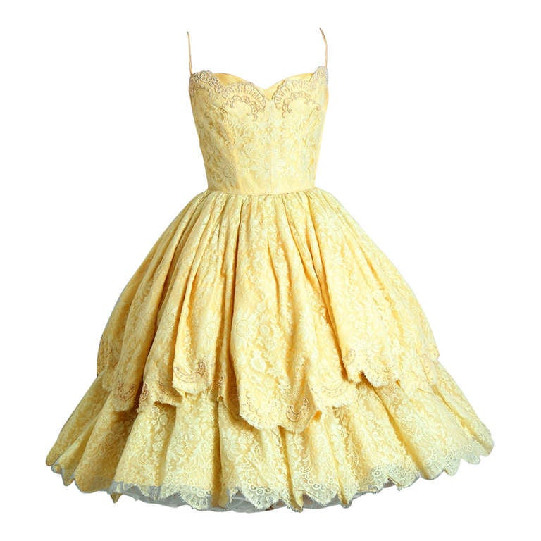 1950's Lemon-Yellow Beaded Floral-Lace Tiered Full Scalloped Party Dress 1