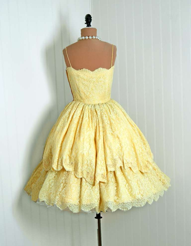 1950's Lemon-Yellow Beaded Floral-Lace Tiered Full Scalloped Party Dress 5