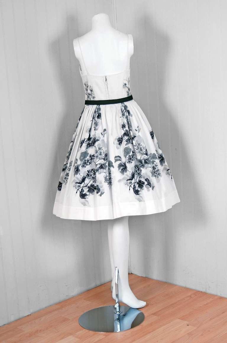 1950's Silvano of Roma Black White Floral Print Pique-Cotton Sun Dress & Coat For Sale 1