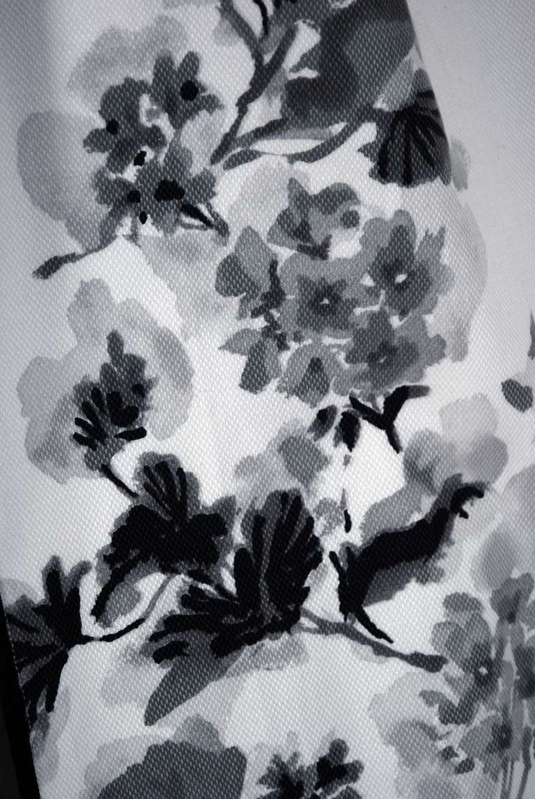 1950's Silvano of Roma Black White Floral Print Pique-Cotton Sun Dress & Coat 4