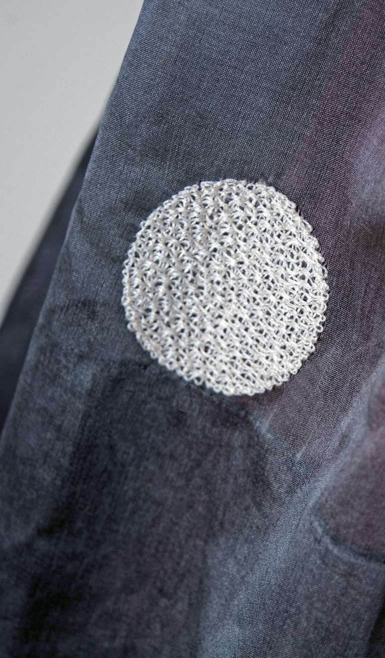 1950's Polka-Dot Gray Embroidered Organza Portrait-Collar Full Party Dress 4