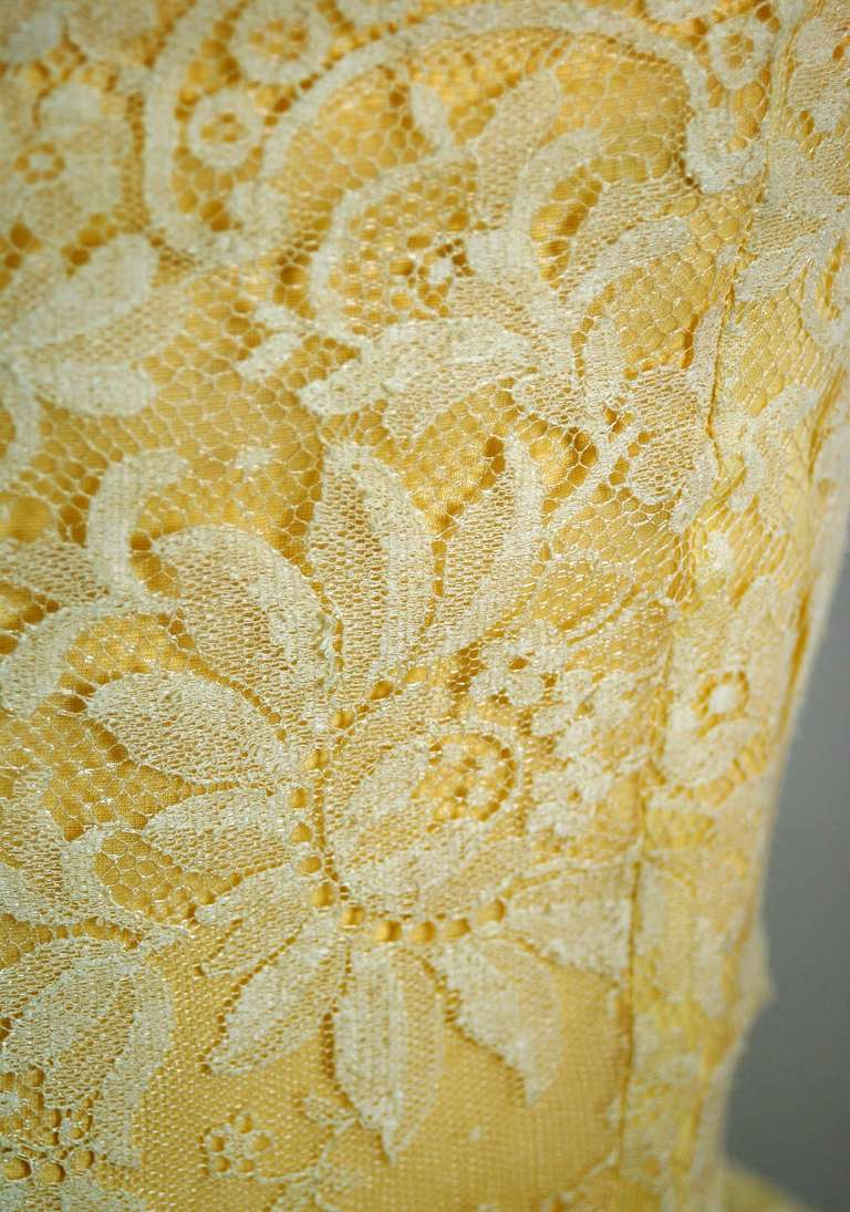 1950's Lemon-Yellow Beaded Floral-Lace Tiered Full Scalloped Party Dress 4