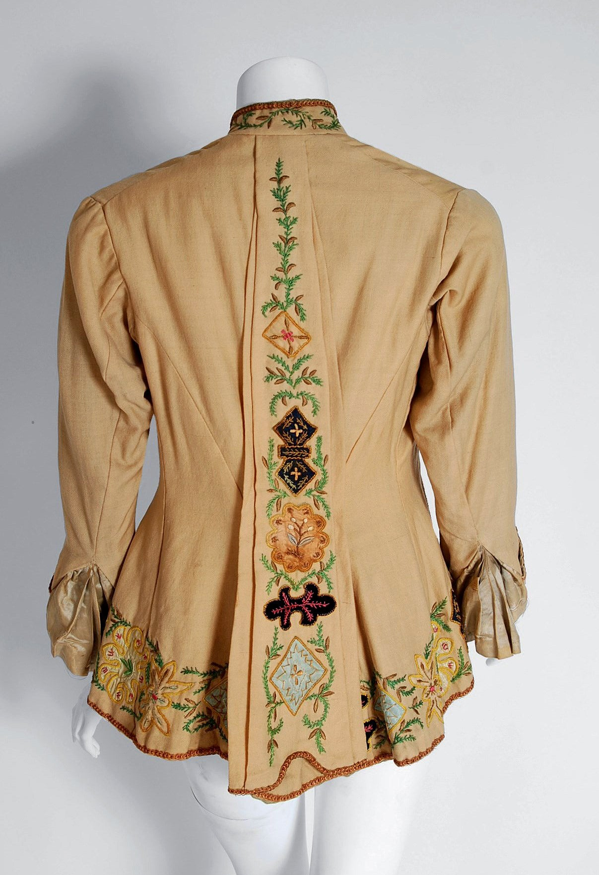 1870 S Victorian Antique Embroidered And Applique Tan Wool