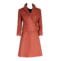 1960 Christian Dior Demi-Couture Documented Apricot Wool Belted Dress Ensemble