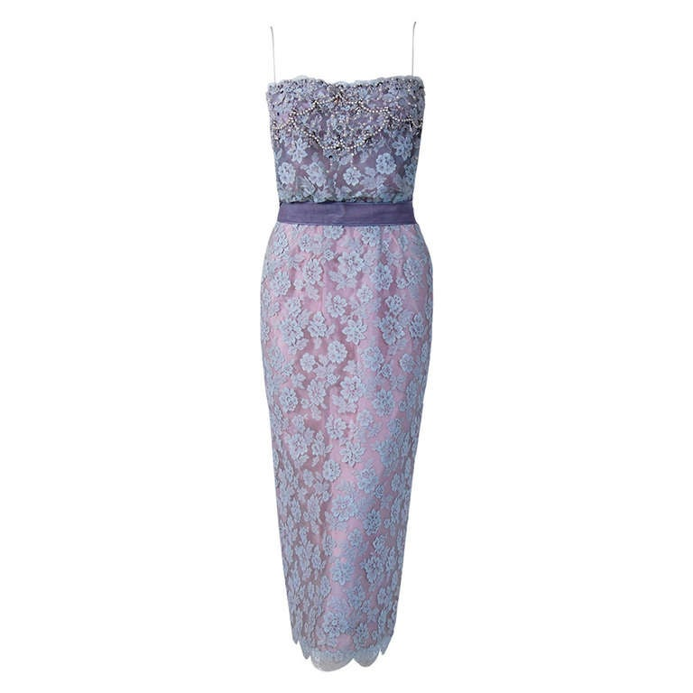 1950's Ceil Chapman Periwinkle Beaded Rhinestone Lace Cocktail Wiggle Dress For Sale