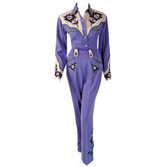 1940's Fay Ward Western Lilac Rhinestone Embroidered Gabardine Rodeo Suit