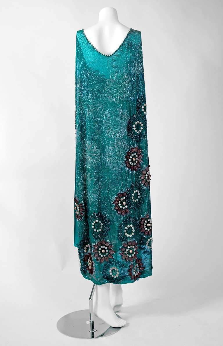 1920's Teal-Blue Beaded Silk-Chiffon & Metallic-Gold Lace Deco Flapper Dress 5