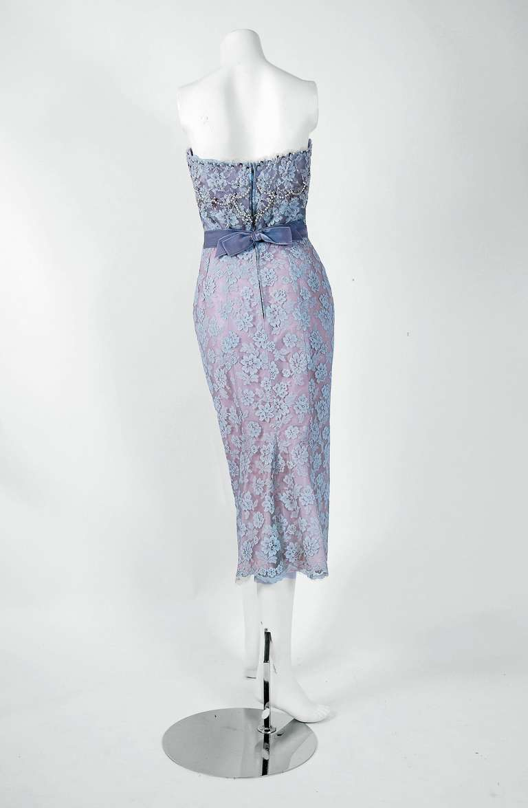 1950's Ceil Chapman Periwinkle Beaded Rhinestone Lace Cocktail Wiggle Dress In Excellent Condition For Sale In Beverly Hills, CA