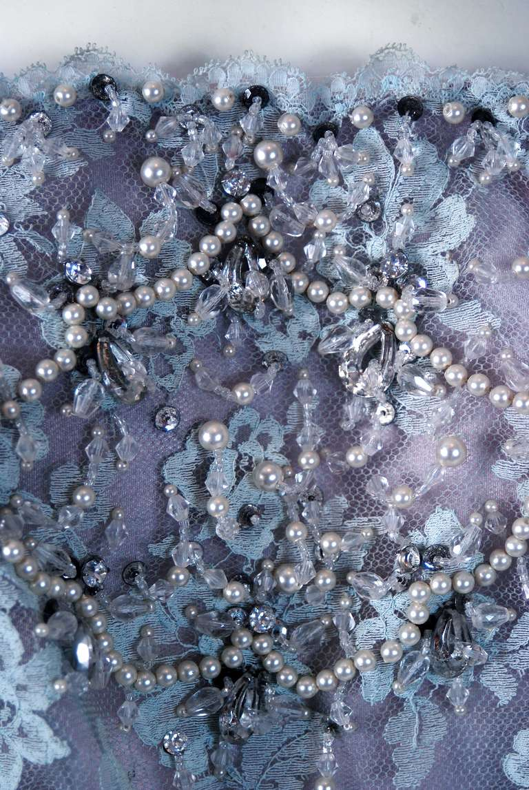 1950's Ceil Chapman Periwinkle Beaded Rhinestone Lace Cocktail Wiggle Dress 3